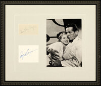 """Casablanca (1950s/1980s). Near Mint-. Autographed Matted and Framed Cards (2) and Reproduction Photo (20.5"""" X 17.5&..."""