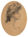 Works on Paper, Harrison Fisher (American, 1875-1934). Lady in Profile, 1904. Pencil and watercolor on paper. 11-3/4 x 8-3/4 inches (29....