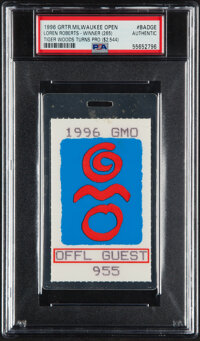 1996 Greater Milwaukee Open Badge/Ticket - (Tiger Woods Professional Debut) PSA Authentic --1/1 Only Slabbed Example!