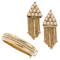 Estate Jewelry:Suites, Cultured Pearl, Gold Jewelry Suite. ... (Total: 2 Items)