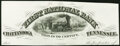 Chattanooga, TN - The First National Bank Letterhead Proof (Ch. # 1606) ND circa 1866 Not Graded.</