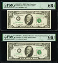 Small Size:Federal Reserve Notes, Fr. 2024-L; L* $10 1977A Federal Reserve Notes. PMG Gem Uncirculated 66 EPQ.. ... (Total: 2 notes)