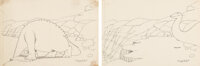 Winsor McCay Gertie the Dinosaur Animation Drawing Group of 2 (Winsor McCay, 1914). ... (Total: 2 Items)