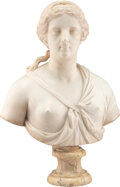 Carvings, A French Carved Marble Bust of a Woman, early 18th century . 33-1/4 x 24-1/2 x 11 inches (84.5 x 62.2 x 27.9 cm). Proper...