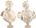 Carvings, A Pair of Italian Carved Marble Busts of Acis and Galatea, circa 1700. 32 x 22-1/2 x 11-1/4 inches (81.3 x 57.2 x 28.6 cm) (... (Total: 2 Items)