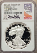 2012-S $1 Silver Eagle, Coin & Currency Set, Mike Castle Signature, PR70 Ultra Cameo NGC. NGC Census: (0). PCGS Popu...
