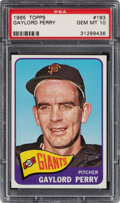 Baseball Cards:Singles (1960-1969), 1965 Topps Gaylord Perry #193 PSA Gem Mint 10 - Pop Four. ...