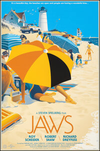 """Jaws, 4/525 by Laurent Durieux (Mondo, 2013); Mint. Hand Numbered Limited Edition Screen Print (36"""" X 24""""; 91..."""