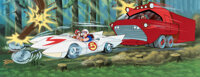 """Speed Racer """"Knives of the Mach 5"""" Pan Limited Edition Cel Signed by Ippei Kuri, Peter Fernandez and Corinne O..."""
