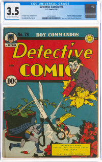 Detective Comics #76 (DC, 1943) CGC VG- 3.5 Off-white to white pages