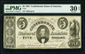 Confederate Notes:1861 Issues, T34 $5 1861 PF-12 Cr. 267 PMG Very Fine 30 EPQ.. ...