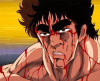 Fist of the North Star Kenshiro Production Cel with Master Background (Toei Animation, c. 1984-88)
