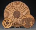 American Indian Art:Baskets, Three Pima Coiled Trays... (Total: 3 )