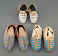 American Indian Art:Beadwork and Quillwork, Three Pairs of Sioux Child's Beaded Hide Moccasins... (Total: 6 )