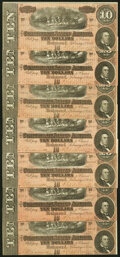 Confederate Notes:1864 Issues, T68 $10 1864 Seven Consecutive Examples. About Uncirculated.. ... (Total: 7 notes)