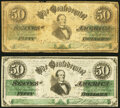 Confederate Notes:1861 Issues, CT16/86B Counterfeit $50 1861 Two Examples. Fine or Better.. ... (Total: 2 notes)