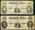 Confederate Notes:1861 Issues, CT25/168 $10 1861 Fine;. CT25/168B $10 1861 Fine.. ... (Total: 2 notes)