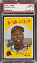 Baseball Cards:Singles (1950-1959), 1959 Topps Hank Aaron #380 PSA Mint 9 - Only One Higher.