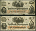 Confederate Notes:1862 Issues, T41 $100 1862 Two Examples. Very Fine.. ... (Total: 2 notes)