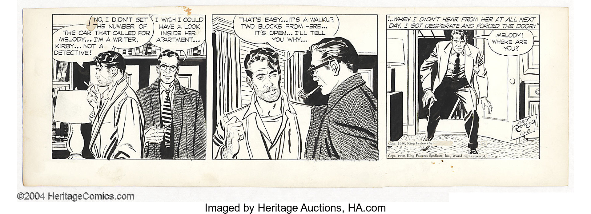 Alex Raymond Rip Kirby Daily Comic Strip Original Art Dated Lot 16802 Heritage Auctions Despaired, desperation, desperately, frantically, in despair, in desperation heritage auctions