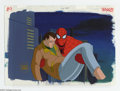 "Original Comic Art:Miscellaneous, Spider-Man ""The Alien Costume, Part Two"" Animation Cel andBackground Original Art (Marvel, circa 1990s). Spidey carriesthe..."