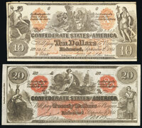 CT19/137A Counterfeit $20 1861 Crisp Uncirculated; CT22/152 Counterfeit $10 1861 Fine-Very Fine. ... (Total: 2 notes)