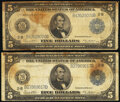 Fr. 851a $5 1914 Federal Reserve Notes Two Examples Fine. ... (Total: 2)