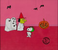 Animation Art:Production Cel, Peanuts It's the Great Pumpkin, Charlie Brown Snoopy at the Party Production Cel Setup with Custom Background (Bil...