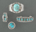 American Indian Art:Jewelry and Silverwork, Four Navajo Jewelry Items ... (Total: 4 )