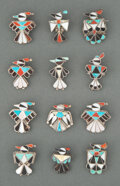 American Indian Art:Jewelry and Silverwork, Twelve Zuni Pins and Pendants... (Total: 12 )