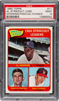 Baseball Cards:Singles (1960-1969), 1965 Topps A.L. Strikeout Leaders - Downing/Pascual/Chance...