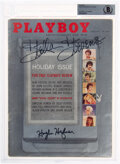 Movie/TV Memorabilia:Autographs and Signed Items, Playboy Holiday Issue Signed by Hugh Hefner and Stella Stevens (HMH Publishing, 1960)....
