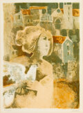 Prints & Multiples, Alvar Suñol (b. 1935). Woman with White Dove. Lithograph in colors on wove paper. 25-1/2 x 19-1/2 inches (64.8 x 49.5 cm...