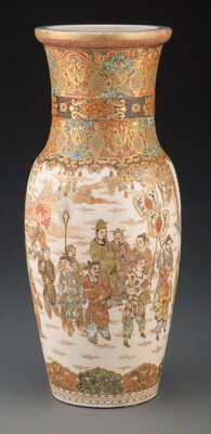 A Japanese Satsuma Vase with Chinese-Style Decoration 12-3/4 x 4-5/8 inches (32.4 x 11.7 cm)
