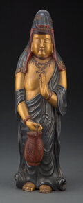 Carvings, A Japanese Wood and Lacquered Guanyin. 16 x 5 x 4-1/4 inches (40.6 x 12.7 x 10.8 cm). ...