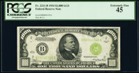 Fr. 2211-B $1,000 1934 Light Green Seal Federal Reserve Note. PCGS Extremely Fine 45