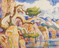 Birger Sandzén (American, 1871-1954) Timberline Trees Watercolor and pencil on paper 21-3/4 x 27-