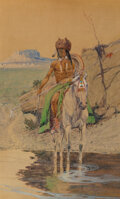 Paintings, Olaf Carl Seltzer (American, 1877-1957). Warrior at the Watering Hole. Watercolor, gouache, and pencil...