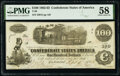 Confederate Notes:1862 Issues, T40 $100 1862 PF-3 Cr. 302 PMG Choice About Unc 58.. ...