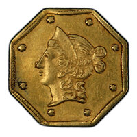 1854 $1 Liberty Octagonal 1 Dollar, BG-528, R.6, AU55 PCGS. PCGS Population: (5/10 and 0/0+). NGC Census: (0/2 and 0/0+)...