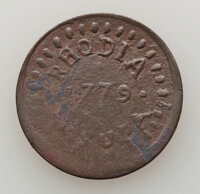 1779 Rhodia Orsula Halfpenny, VF20. Likely a product of C. Wyllys Betts. Ex: Herb Bardes (4/17/1973)