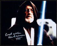 """Star Wars: Alec Guinness (1996). Very Fine+. Autographed Digital Reproduction Convention Photo (8"""" X 10""""). Sci..."""