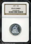 Proof Seated Quarters: , 1891 PR 67 Cameo NGC. ...