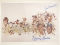 """Autographs:Letters, Joe DiMaggio and Mickey Mantle Signed Print. The large 11x14"""" printcelebrating some of the greats of baseball, has been au..."""