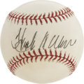 Autographs:Baseballs, Hank Aaron Single Signed Baseball. Hammerin' Hank brings us a sweetapplication of his Hal of Fame autograph to the provide...