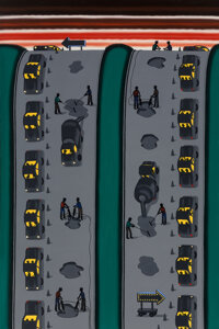 Roger Brown (1941-1997) They Call This an Expressway?, 1986 Oil on canvas 72 x 48 inches (182.9 x