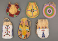American Indian Art:Beadwork and Quillwork, Six Plains Beaded Hide Pouches... (Total: 6 )