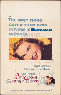 """Paris Does Strange Things & Other Lot (Warner Bros., 1956). Very Fine-. Window Cards (2) (14"""" X 22""""). Fore..."""