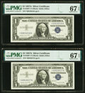 Small Size:Silver Certificates, Fr. 1620* $1 1957A Silver Certificate Stars. Two Consecuti...