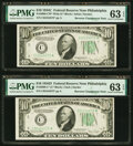 Fr. 2009-C*/Fr. 2008-C* $10 1934D/1934C Wide Federal Reserve Notes. Reverse Changeover Pair. MG Choice Uncirculated 63 E...
